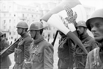 Flag of Italy - Italian soldiers with the RSI flag in Rome, March 1944