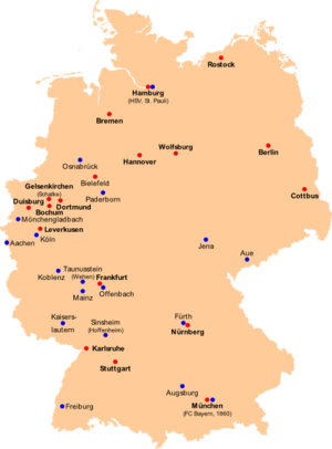 1. Fußball-Bundesliga (Red) and 2. Fußball-Bundesliga (Blue) Seson 2007-08