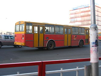 Transport in Ethiopia - An Anbessa City Bus Service Enterprise bus with DAF chassis at Meskel Square in Addis Ababa