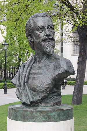 John Donne - John Donne Memorial by Nigel Boonham, 2012, St Paul's Cathedral Churchyard