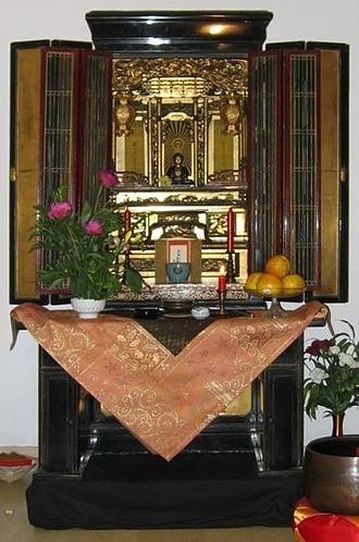 Buddhist liturgy - Butsudan with enshrined Amida Buddha