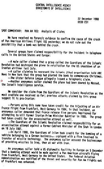 CIA analysis of various claims of responsibility for the bombing CIAPA103D.jpg