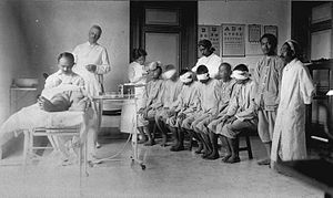 The operating-room with doctors and patients i...