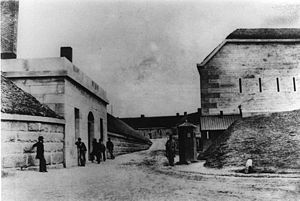 Joseph Wightman - Fort Warren guardhouse (left) and sentry box (right) about 1861