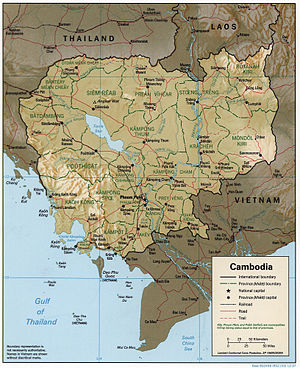 An enlargeable relief map of Cambodia