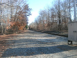 Franklin Lakes, New Jersey - The former Campgaw Station site for the New York, Susquehanna and Western Railway as seen in November 2011. There is nothing left of the station platform or depot.
