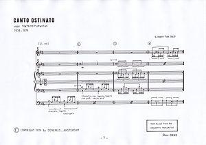 Canto Ostinato - The first bars of Canto Ostinato