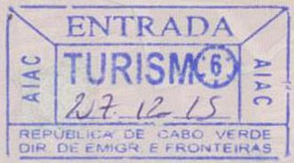 Visa policy of Cape Verde - Cape Verde entry stamp