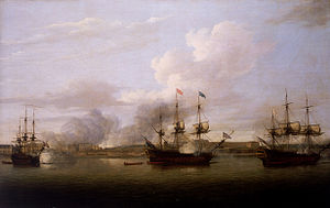 Chandannagar - The capture of the position of Chandernagore in 1757 by the Royal Navy.
