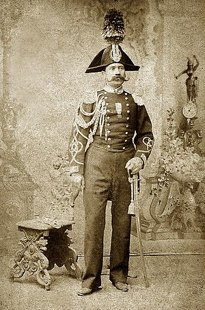 Carabinieri - Photo of a Carabiniere around 1875. The 'Medal of Italian Independence' is worn, indicating a veteran of the Risorgimento (The Wars for Italian Unification).
