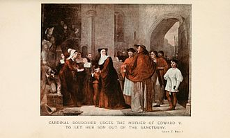 Edward V of England - Cardinal Bourchier urges the mother of Edward V to let her son out of Sanctuary, by John Z. Bell