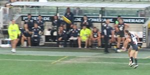Interchange (Australian rules football) - The Carlton interchange bench in a match against St Kilda, 2011.