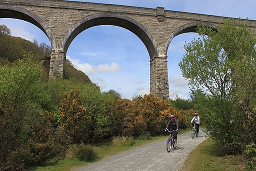 Carnon Viaduct and cyclists on the Mineral Tramways Trail