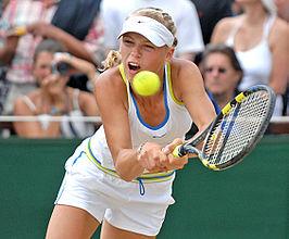 Caroline Wozniacki in 2006 tijdens de meisjesfinale op het tennistoernooi van Wimbledon