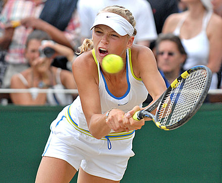 Wozniacki during the Wimbledon junior final Carolinewozniacki.jpg