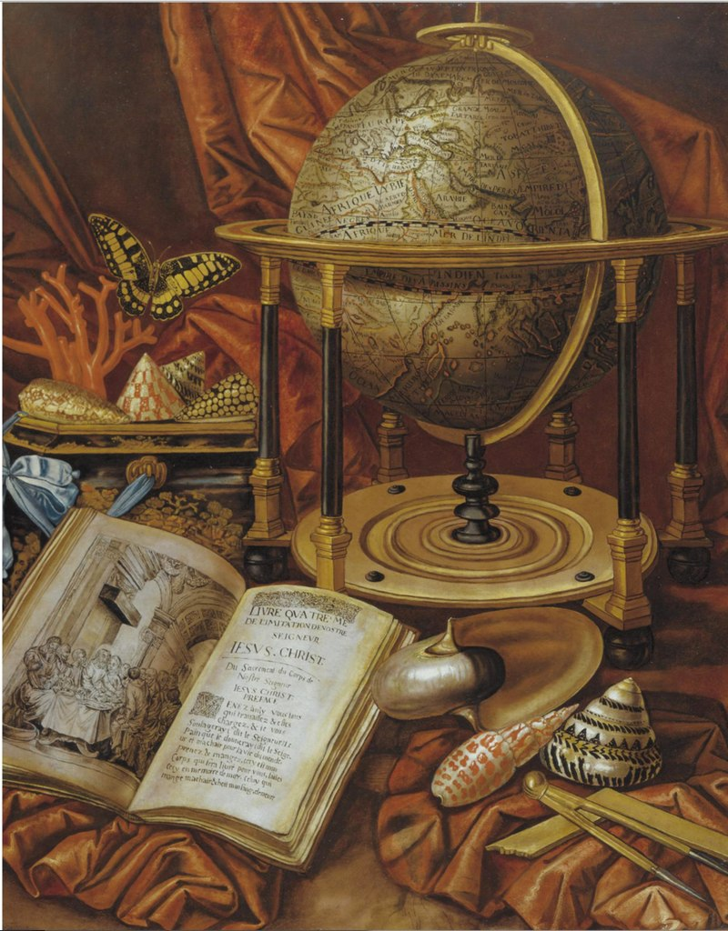Carstian Luyckx - Still life with a globe, books, shells and corals resting on a stone ledge.jpg