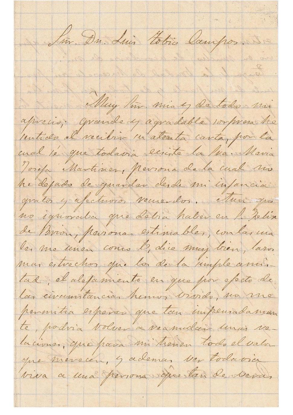 A Luis Tobío Campos, 1883.