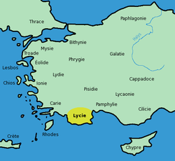 Location of Lycia as known to the ancient Greeks