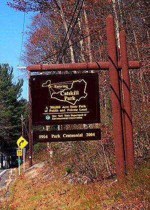 Catskill Park - Sign at entry to Catskill Park near southern end, along NY 55 near Napanoch.