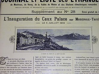 Caux Palace Hotel - Newspaper announcing the inauguration of the Caux Place Hotel in 1902.