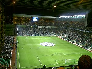 Celtic F.C. in European football - Celtic Park before kick-off in a Champions League tie against Benfica in November 2007