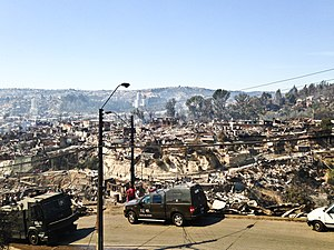 Great Fire of Valparaíso - One of the affected hills of Valparaíso, on 13 April 2014