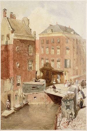 Charles Rochussen - The Osjessluis in Amsterdam, a watercolor of Rochussen from 1855