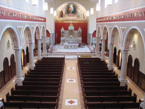 Interior of the sanctuary of the Fathers of Mercy Chapelinterior.JPG