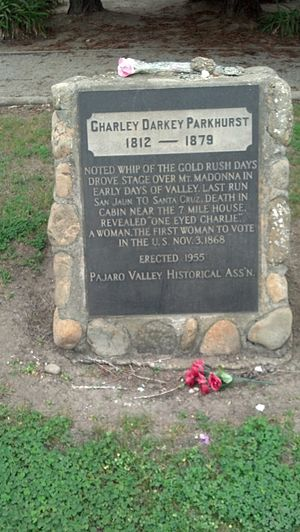 Charley Parkhurst - Headstone at Pioneer Cemetery, Watsonville, California.