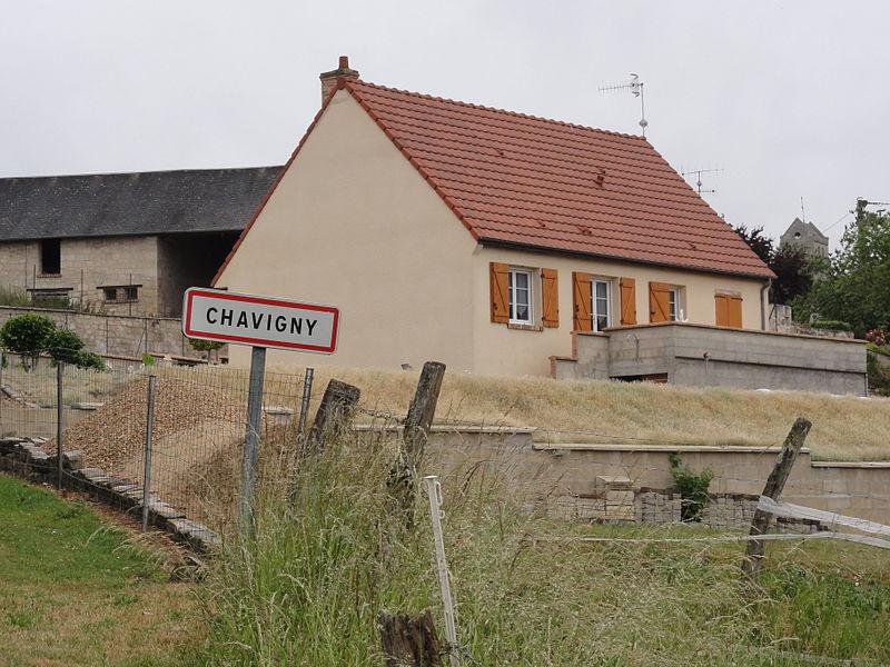 Chavigny (Aisne) city limit sign