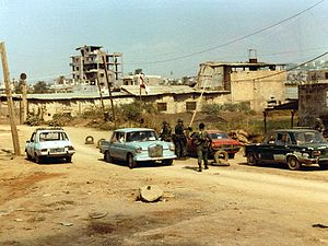 Mountain War (Lebanon) - Checkpoint 4, manned by U.S. Marines and Lebanese soldiers in the outskirts of Beirut in 1982.