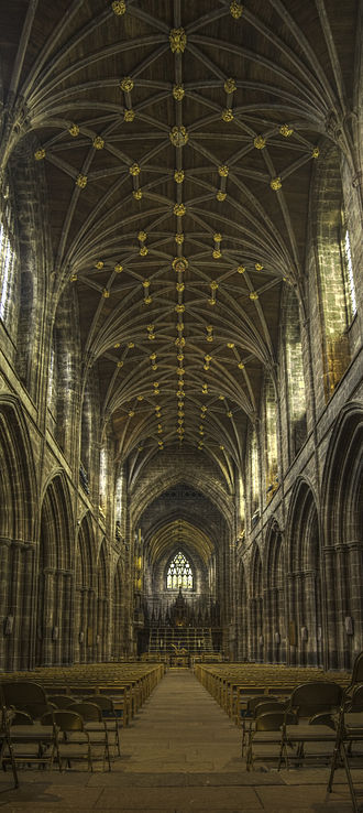 Rib vault - Lierne vault of the nave of Chester Cathedral