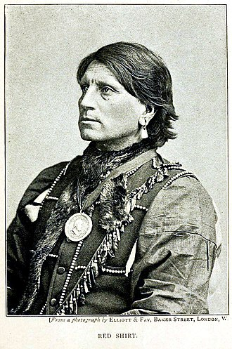 Red Shirt (Oglala) - Red Shirt was lionized by the British press and his handsome features and stately bearing caused reporters to hang on his every word.