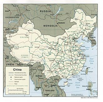 Outline of China - An enlargeable map of the People's Republic of China