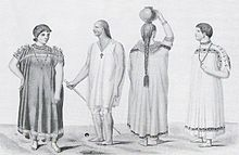 Two men and two women. The men wear necklaces with crosses around their necks. One of the women wears a necklace the other shown from the back has braided hair. Three of them wear wide robes, the third wears a shirt and kneelength trousers.