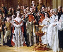 Queen Victoria and her family assembled in St George's Chapel, Windsor, for the baptism of her eldest son