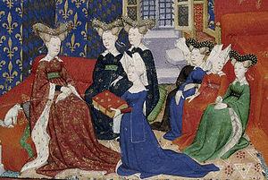 Exemple de représentation du matrimoine culturel: cette enluminure de 1413 montrant Christine de Pisan présentant ses Épîtres du Débat sur le Roman de la Rose à la reine Isabelle de Bavière.