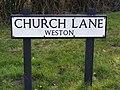 Church Lane, Weston Sign - geograph.org.uk - 1142591.jpg