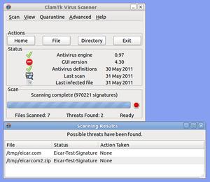 Clam AntiVirus - ClamTk 4.30 running on Ubuntu 11.04
