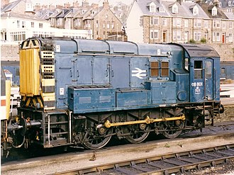 British Rail Class 08 - 08801 at Penzance in 1990.