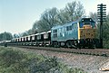Class 31, no. 31205 on an eastbound ballast train, west of Frisby on the Wreake, Leicestershire, Nigel Tout, 20.4.76.jpg