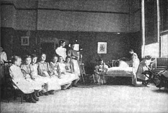"Summer camp - Young girls learning how to make a bed at a ""vacation school"" in the late 1890s, what in modern terminology would probably be a summer camp."