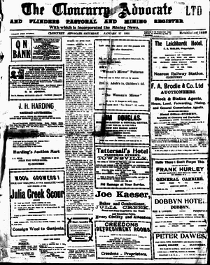 Cloncurry, Queensland - Front page of the Cloncurry Advocate Saturday January 17, 1931