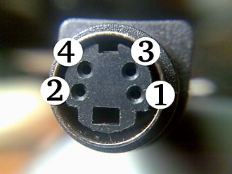 Mini-DIN connector - An S-video connector.  Because this is a female connector, Pin 1 is at lower right.