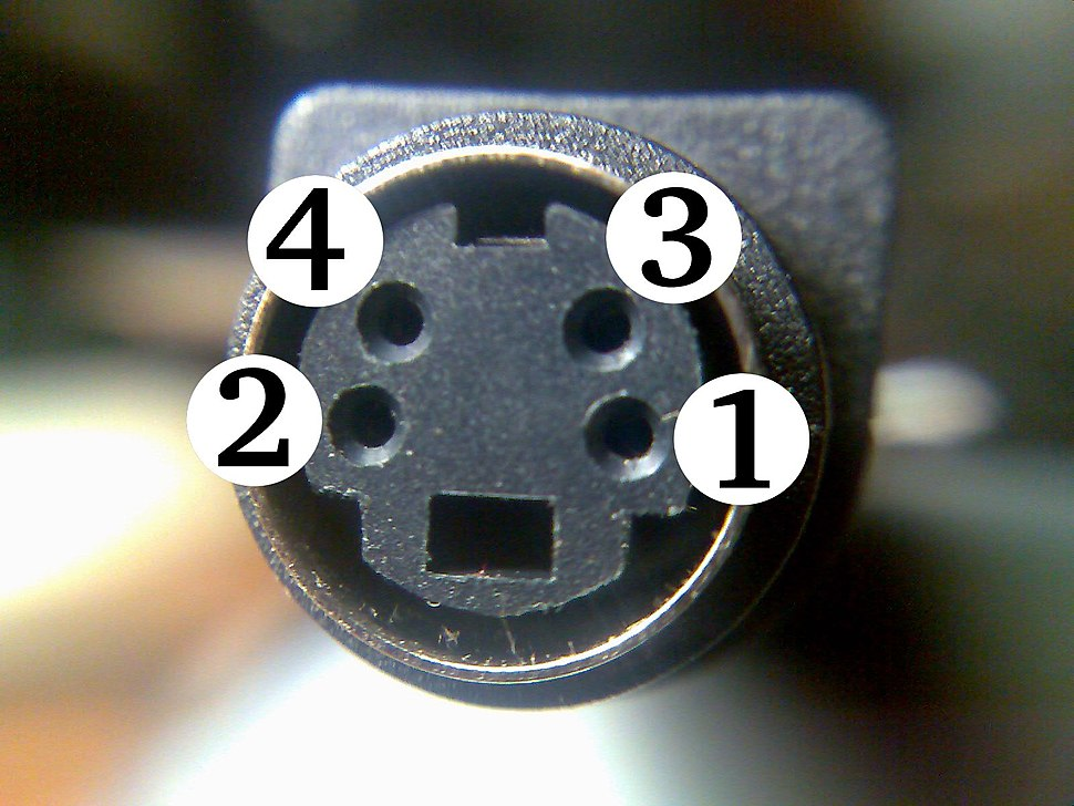 Close-up of S-video female connector