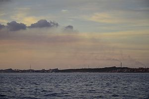 Acid rain - Acid clouds can grow on SO2 emissions from refineries, as seen here in Curaçao.