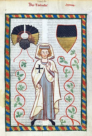 Teutonic Order - Tannhäuser in the habit of the Teutonic Knights, from the Codex Manesse
