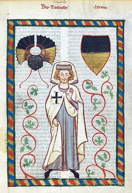 illuminated manuscript - male and coats of arms