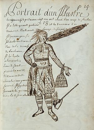Megaphone - Page from the Codex canadensis, by Louis Nicolas, circa 1675 to 1682, showing a native North-American chief using a megaphone made of bark