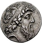 Coin of Demetrius II Nicator (cropped), Ptolemais in Phoenicia mint.jpg